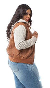 Leather Moto Jacket with Sweater insert in Tan (Plus Sizes Available) - SohoGirl.com