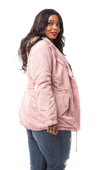 Plus Size Satin Fur Lined Hooded Parka Coat - Blush - SohoGirl.com