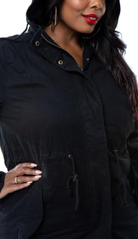 Plus Size Hooded Parka Coat in Black - SohoGirl.com