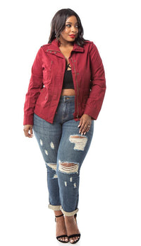 Plus Size Burgundy Utility Trench Coat - SohoGirl.com