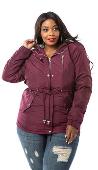 Plus Size Satin Fur Lined Hooded Parka Coat - Burgundy - SohoGirl.com