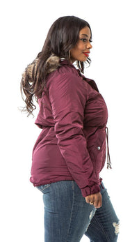 Plus Size Satin Fur Lined Hooded Parka Coat - Burgundy
