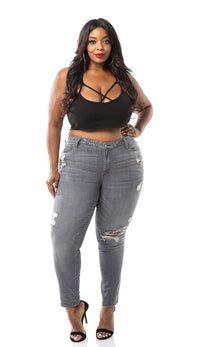 Plus Size Mica Mid Rise Skinny Ankle Jeans - Gray - SohoGirl.com