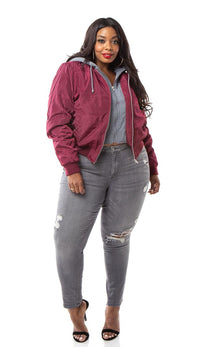 Plus Size Sweater Insert Satin Bomber Jacket - Burgundy - SohoGirl.com