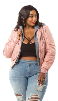 Plus Size Sweater Insert Satin Bomber Jacket - Dusty Pink