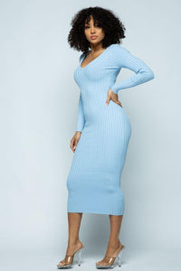 Maxi Ribbed Long Sleeve Sweater Dress - Baby Blue