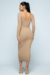 Maxi Ribbed Long Sleeve Sweater Dress - Tan