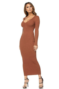 Maxi Ribbed Long Sleeve Sweater Dress - Rust - SohoGirl.com