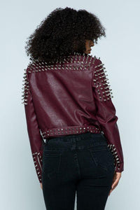 Faux Leather Moto Jacket with Stud Detail in Burgundy