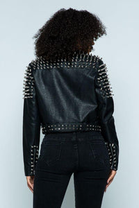 Faux Leather Moto Jacket with Stud Detail in Black - SohoGirl.com