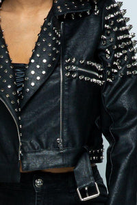 Faux Leather Moto Jacket with Stud Detail in Black