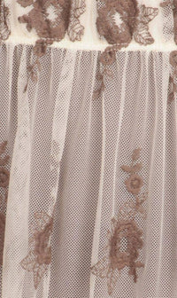 Floral Embroidered Sheer Maxi Skirt in Taupe - SohoGirl.com