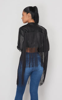 Faux Leather Fringe Moto Jacket - Black