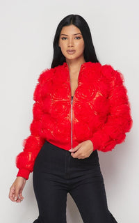 Mesh Roses Satin Bomber Jacket -Red