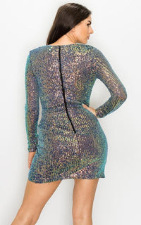 Iridescent Asymmetrical Sequin Mini Dress