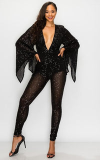 Sequin Wide Flared Sleeve Jumpsuit - Black