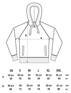 Rise and Ride Organic Hoodie Sizing Chart