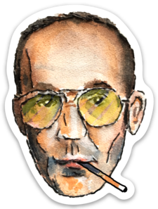 Hunter S Thompson embroidery sticker by Bri Bowers