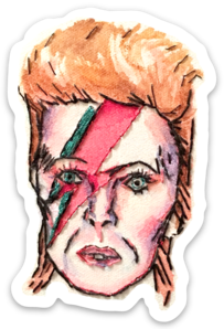 David Bowie watercolor sticker by Bri Bowers