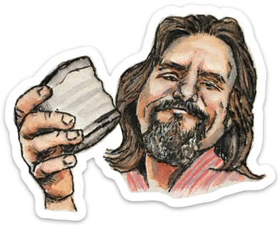 The Dude watercolor sticker by Bri Bowers