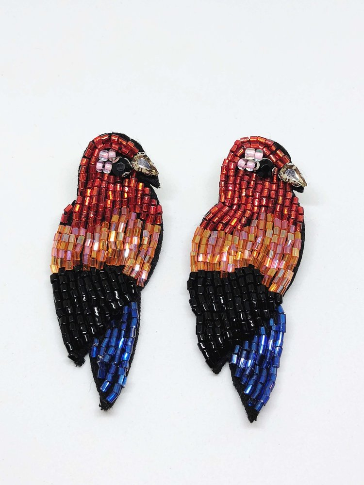 Finds Designs Beaded Macaw Drops Earrings