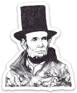 Maya Joy - Mountain Portrait Abe Lincoln Sticker