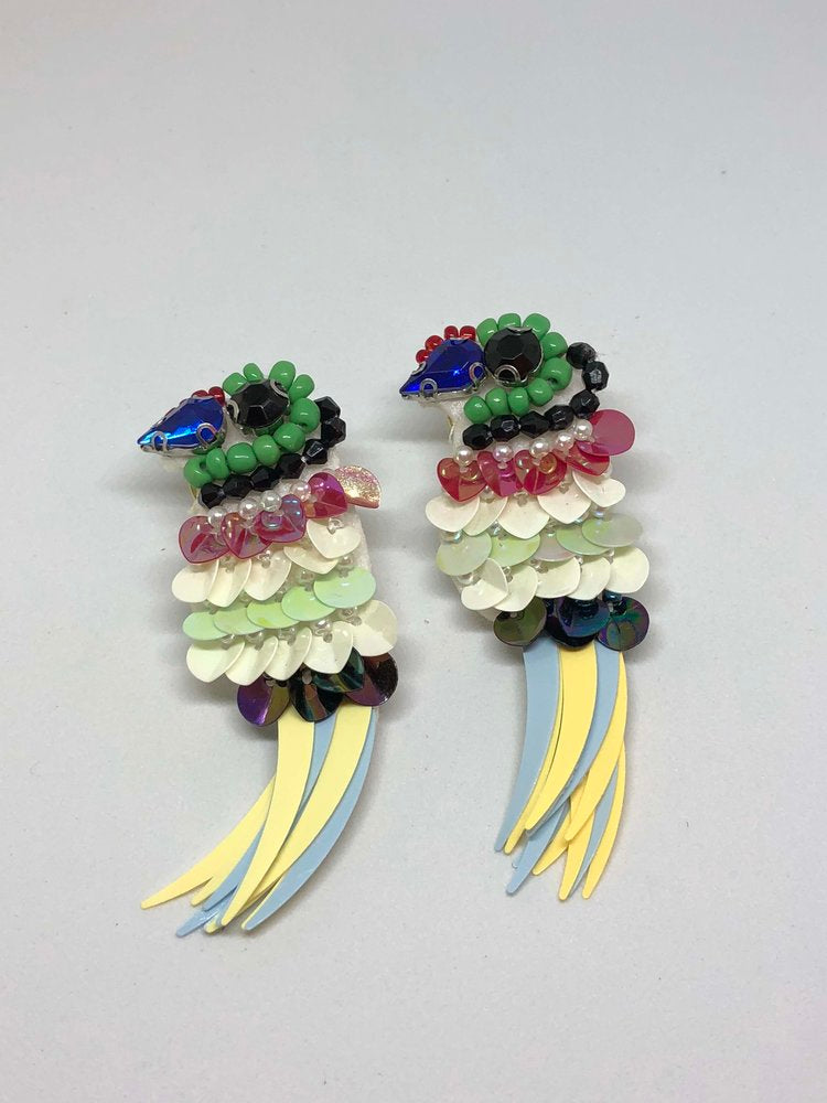 Finds Designs Beaded Birds of Paradise Earrings