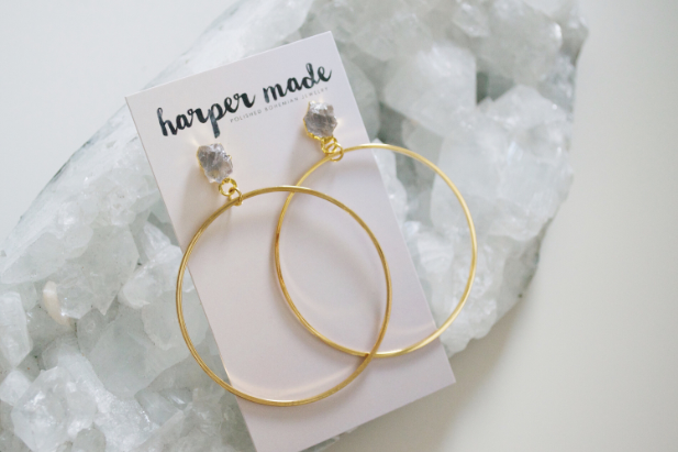 Harper Made - Raw Crystal Gold Hoops