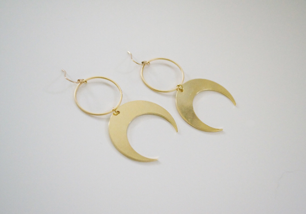 Harper Made - Gold Plated Crescent Moon Dangles