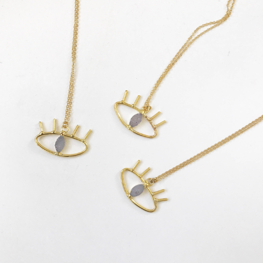 Harper Made Druzy Evil Eye Necklace