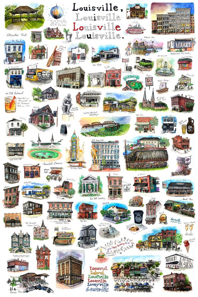 Epic Louisville Watercolor Print by Bri Bowers