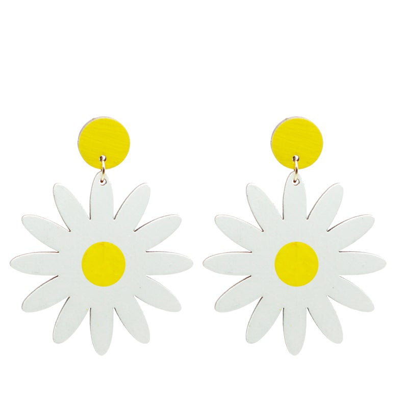 Hand Painted wood daisy stud dangle earrings by Le Chic Miami
