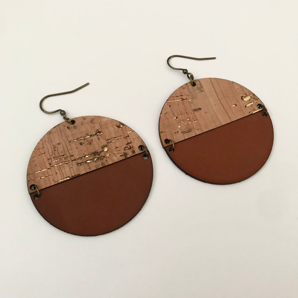 Maya Collection - Gold Fleck Cork & Leather Earrings by Balkiso