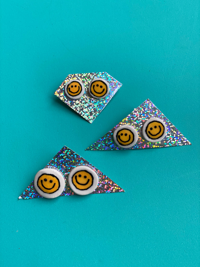 Ashley Stewart - Ceramic Smiley Post Earrings