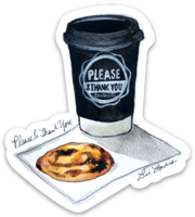 Please & Thank you watercolor sticker by Bri Bowers