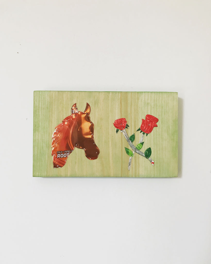 Horse head with two rose can art by Herb Bradshaw