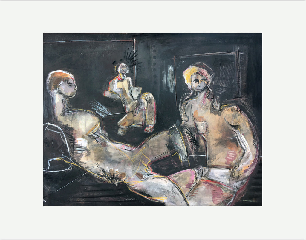 Three figures on black print by Joshua Jenkins