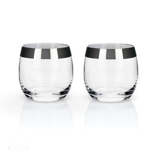 Chrome Rim Crystal Tumblers-Drinkware-Simply Stemless