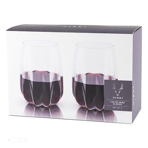 Cactus Crystal Stemless Wine Glasses (Set of 2)-Drinkware-Simply Stemless