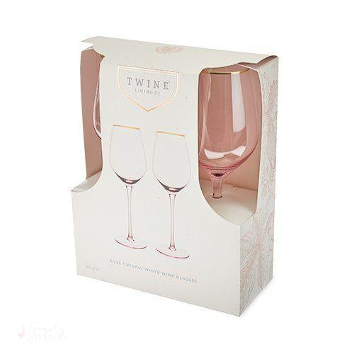 Rose Crystal White Wine Glass Set-Drinkware-Simply Stemless