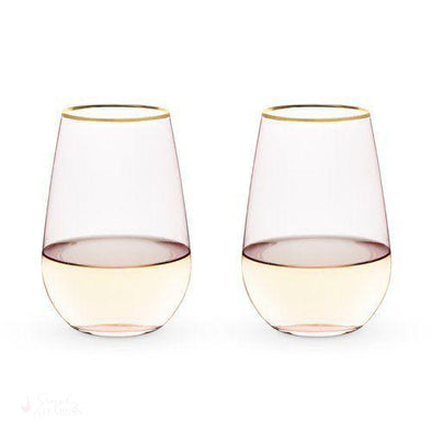 Rose Crystal Stemless Wine Glass Set (Set of 2)-Drinkware-Simply Stemless