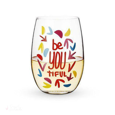 BeYOUtiful Stemless Wine Glass-Drinkware-Simply Stemless