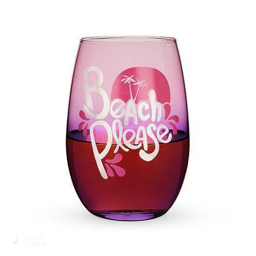 Beach Please Stemless Wine Glass-Drinkware-Simply Stemless