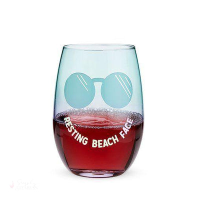 Resting Beach Face Stemless Wine Glass-Drinkware-Simply Stemless