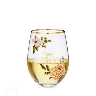 Choose Happy Stemless Wine Glass-Drinkware-Simply Stemless