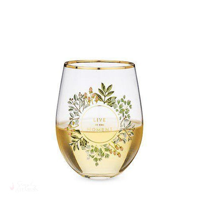 Live in the Moment Stemless Wine Glass-Drinkware-Simply Stemless