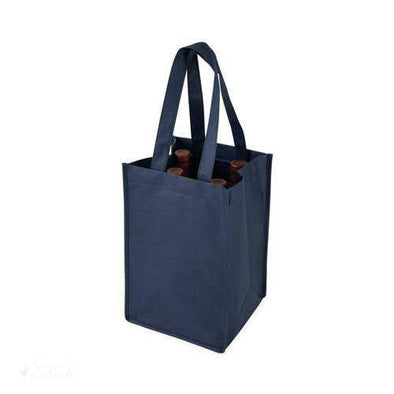 4 Bottle Non Woven Tote in Blue-Wine Totes-Simply Stemless