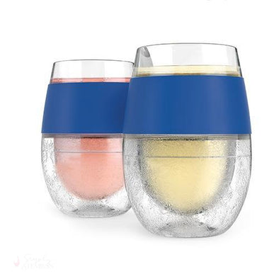 Wine FREEZE Cooling Cups - Blue (Set of 2)-Temperature Regulating-Simply Stemless