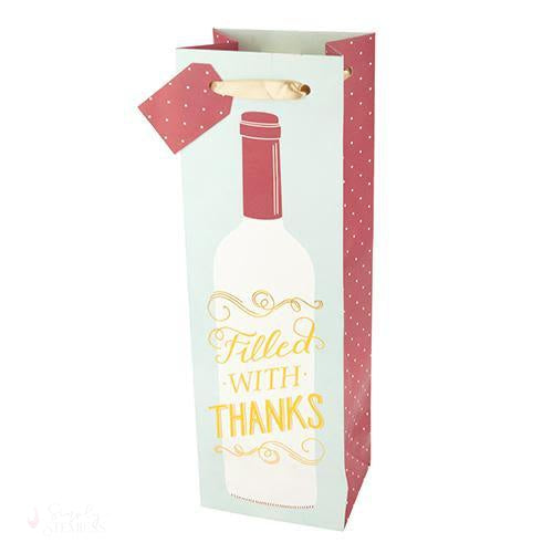 Marketplace: Filled with Thanks Wine Bag-Paper Wine Bags-Simply Stemless
