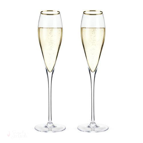 Gold-Rimmed Crystal Champagne Flutes-Drinkware-Simply Stemless